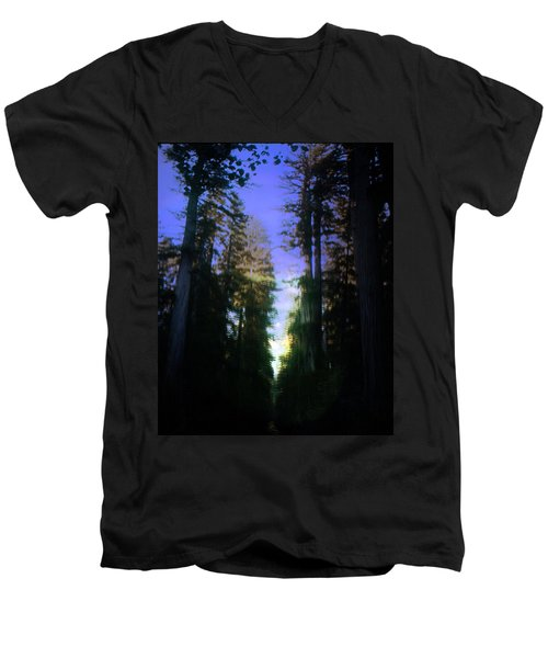 Men's V-Neck T-Shirt featuring the digital art Light Through The Forest by Cathy Anderson