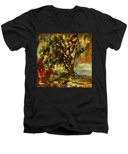 Light Through The Moss Tree Landscape Painting Men's V-Neck T-Shirt