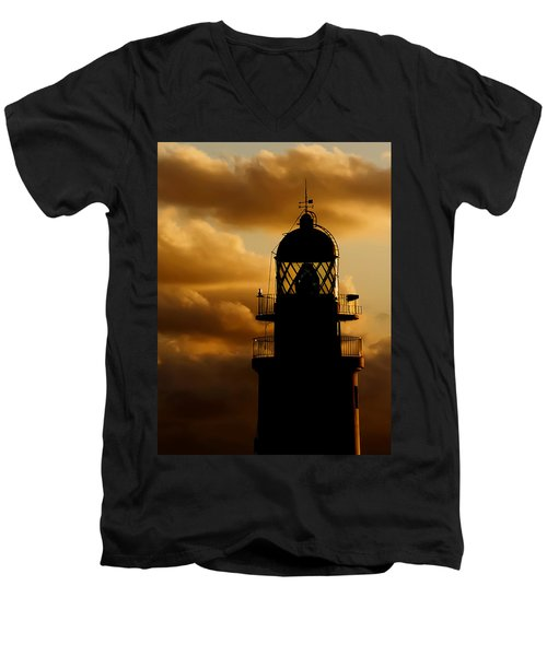 lighthouse dawn in the north coast of Menorca Men's V-Neck T-Shirt