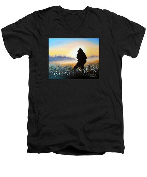 Men's V-Neck T-Shirt featuring the painting Lighthunter by Vesna Martinjak