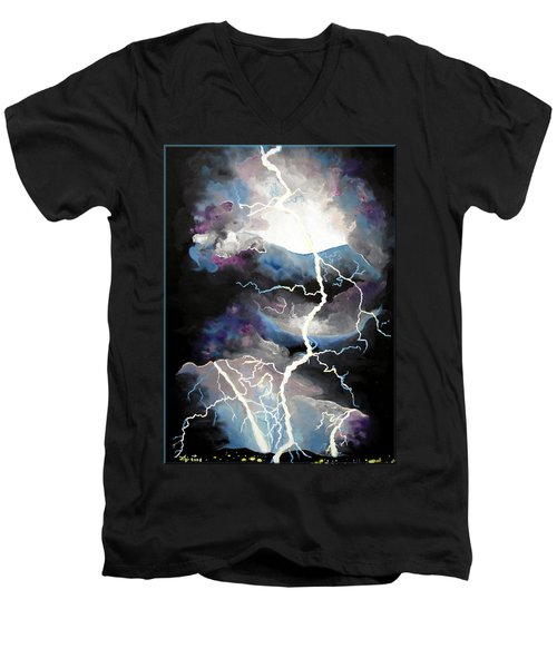 Men's V-Neck T-Shirt featuring the painting Lightning by Daniel Janda
