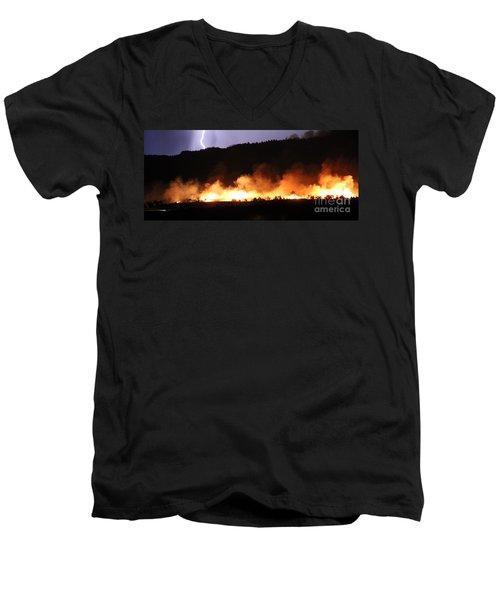 Men's V-Neck T-Shirt featuring the photograph Lightning During Wildfire by Bill Gabbert