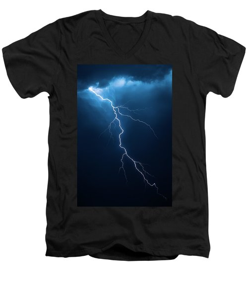 Lightning With Cloudscape Men's V-Neck T-Shirt by Johan Swanepoel