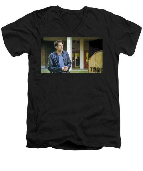 Men's V-Neck T-Shirt featuring the painting Like The Night When My Girl Went Away by Luis Ludzska