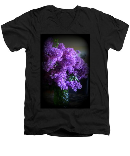 Lilac Bouquet Men's V-Neck T-Shirt by Kay Novy