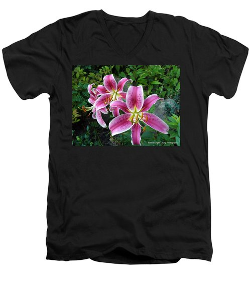 Men's V-Neck T-Shirt featuring the photograph Lilies Of The Field by Lingfai Leung