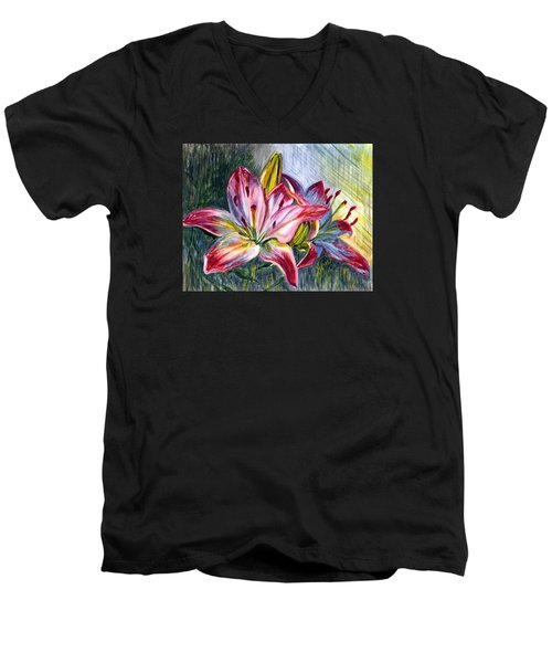 Men's V-Neck T-Shirt featuring the painting Lilies Twin by Harsh Malik