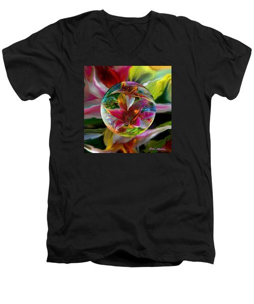 Men's V-Neck T-Shirt featuring the painting Lillium Bulbiferum by Robin Moline