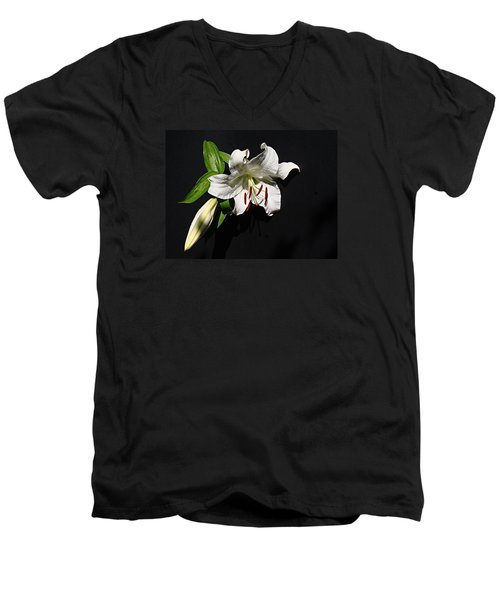 Men's V-Neck T-Shirt featuring the photograph Lily At Daybreak by Nick Kloepping