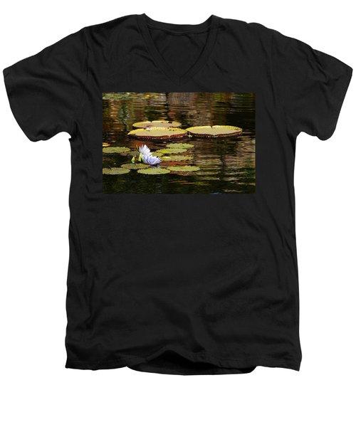 Lily Pad Men's V-Neck T-Shirt by Kathy Churchman