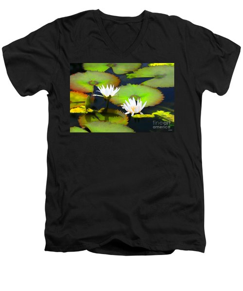 Lily Pond Bristol Rhode Island Men's V-Neck T-Shirt by Tom Prendergast