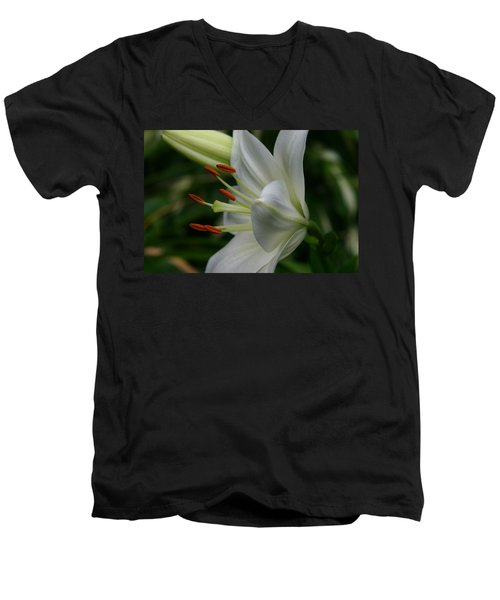 Men's V-Neck T-Shirt featuring the photograph Lily Pure by Denyse Duhaime