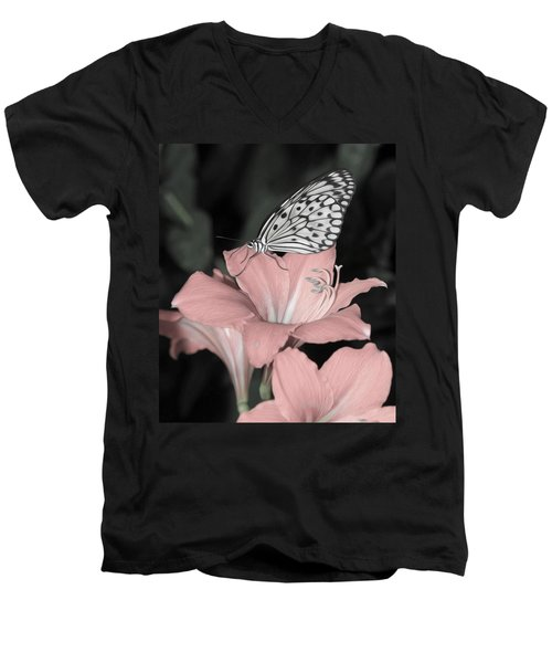 Lily With Butterly  Men's V-Neck T-Shirt