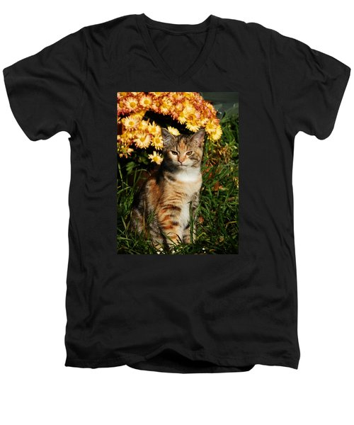 Lily With Harvest Mums Men's V-Neck T-Shirt by VLee Watson