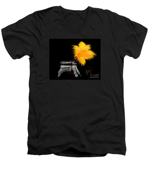 Lily Yellow Men's V-Neck T-Shirt by Chris Fraser
