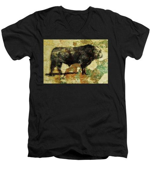 French Limousine Bull 11 Men's V-Neck T-Shirt by Larry Campbell
