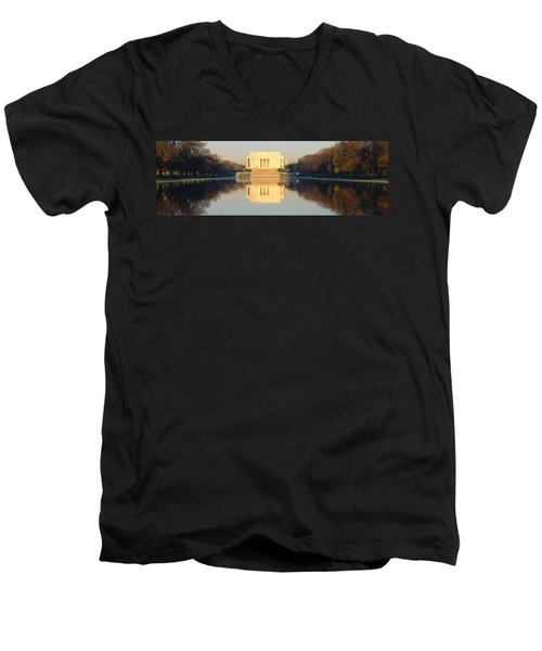 Lincoln Memorial & Reflecting Pool Men's V-Neck T-Shirt by Panoramic Images