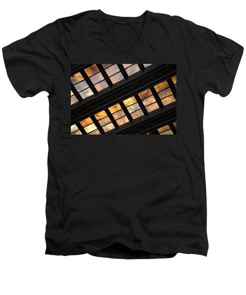 Lincoln Memorial Stained Glass Men's V-Neck T-Shirt