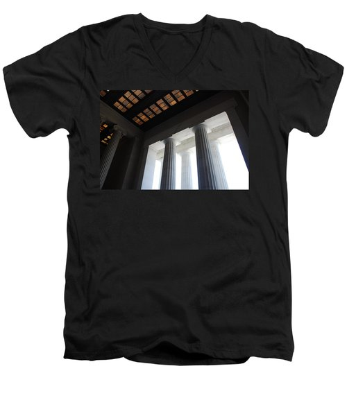 Lincoln Stained Glass And Columns Men's V-Neck T-Shirt