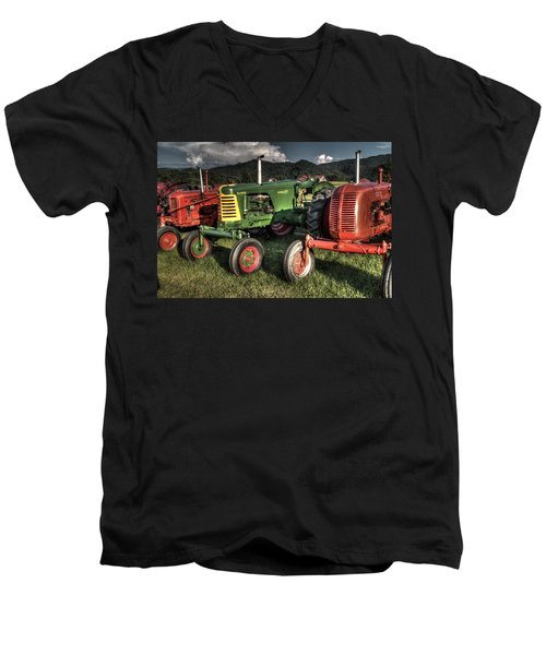Lined Up Men's V-Neck T-Shirt by Michael Eingle