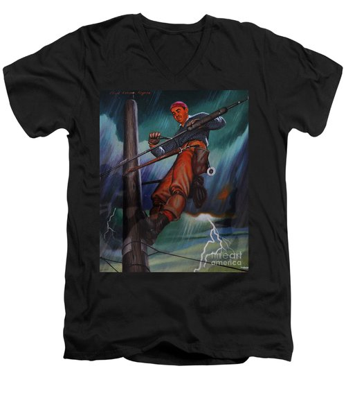Lineman In Storm Men's V-Neck T-Shirt