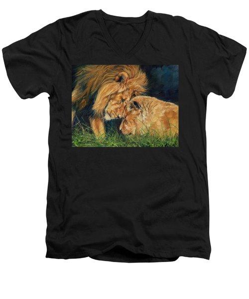 Lion  Love Men's V-Neck T-Shirt by David Stribbling