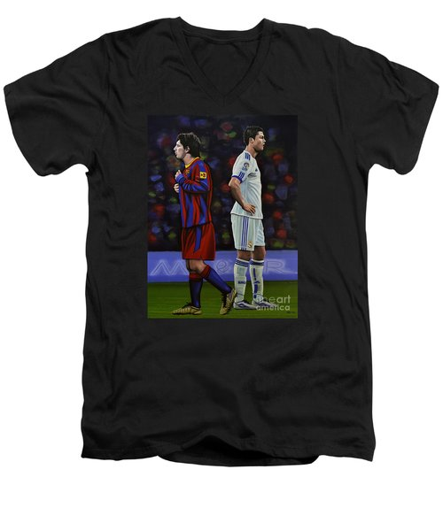 Lionel Messi And Cristiano Ronaldo Men's V-Neck T-Shirt by Paul Meijering
