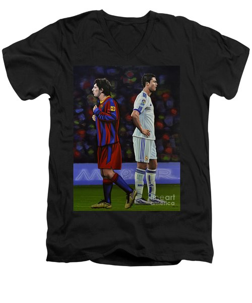 Lionel Messi And Cristiano Ronaldo Men's V-Neck T-Shirt