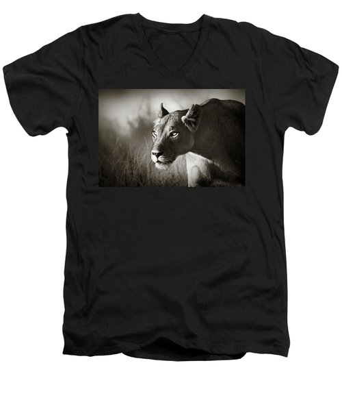 Lioness Stalking Men's V-Neck T-Shirt by Johan Swanepoel