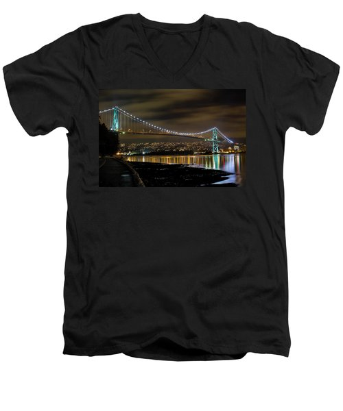Lions Gate Bridge At Night Men's V-Neck T-Shirt