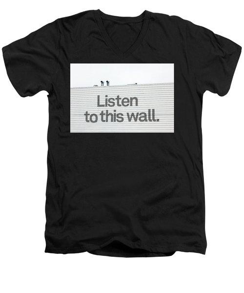 Listen Men's V-Neck T-Shirt by Art Block Collections