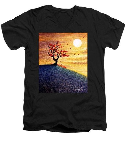 Little Autumn Tree Men's V-Neck T-Shirt by Danielle R T Haney