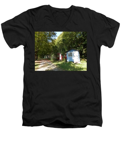 Little Cabins Men's V-Neck T-Shirt by Pema Hou