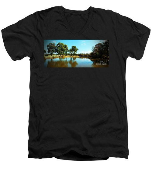 Men's V-Neck T-Shirt featuring the photograph Little Creek by Angela DeFrias