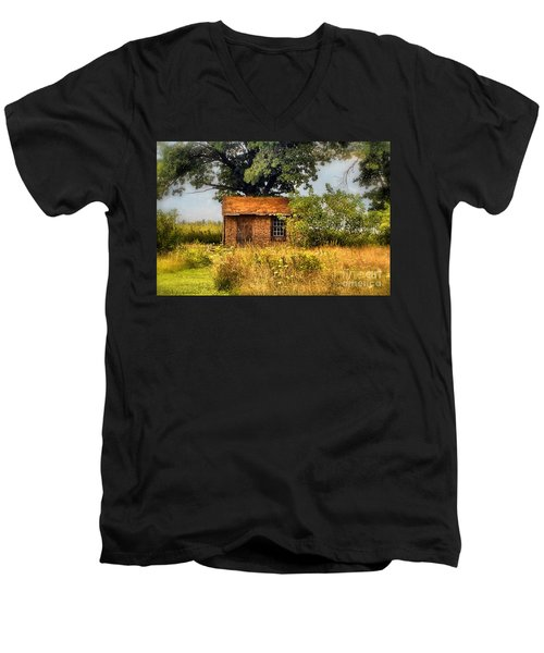 Men's V-Neck T-Shirt featuring the photograph Little House On The Prairie by Peggy Franz