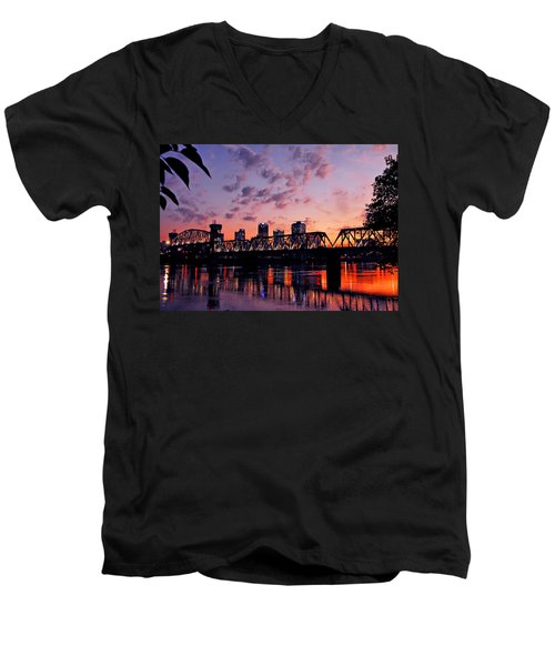 Men's V-Neck T-Shirt featuring the photograph Little Rock Bridge Sunset by Mitchell R Grosky