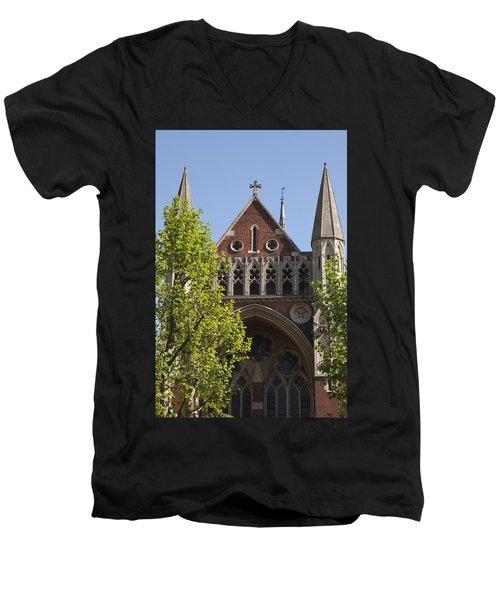 Men's V-Neck T-Shirt featuring the photograph Little Venice Church by Maj Seda