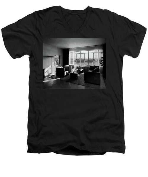 Living Room In The Ny Home Of Edward M. M Men's V-Neck T-Shirt