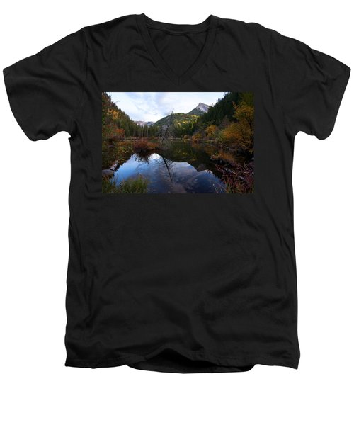Men's V-Neck T-Shirt featuring the photograph Lizard Lake by Jim Garrison