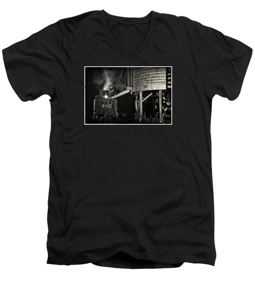 Men's V-Neck T-Shirt featuring the photograph Loading Water At Chama Train Station by Priscilla Burgers