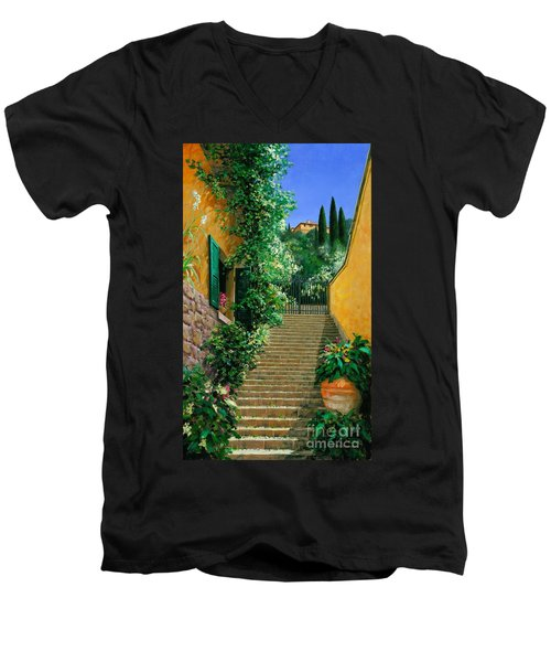 Men's V-Neck T-Shirt featuring the painting Lofty Heights by Michael Swanson