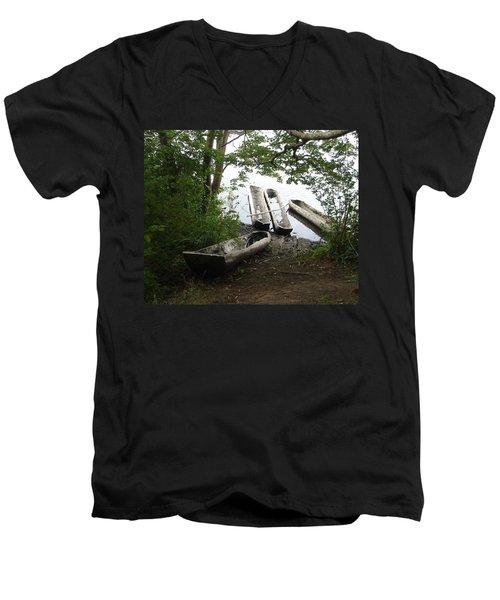 Men's V-Neck T-Shirt featuring the photograph Log Canoes by Kerri Mortenson