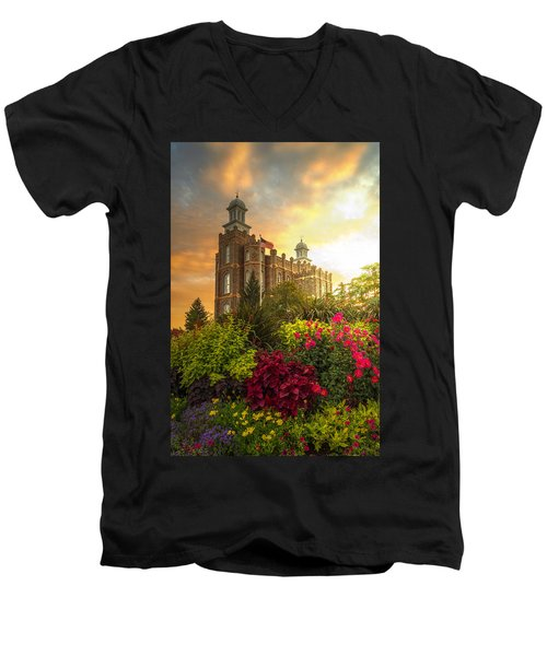 Logan Temple Garden Men's V-Neck T-Shirt