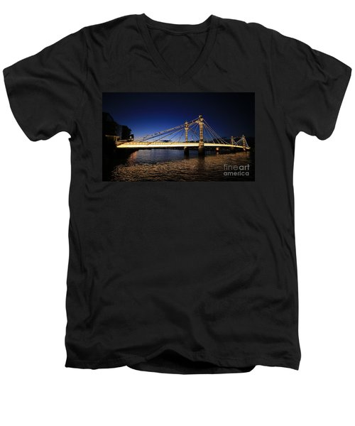 London Albert Bridge  Men's V-Neck T-Shirt by Mariusz Czajkowski