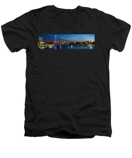 London Eye And Central London Skyline Men's V-Neck T-Shirt by Panoramic Images