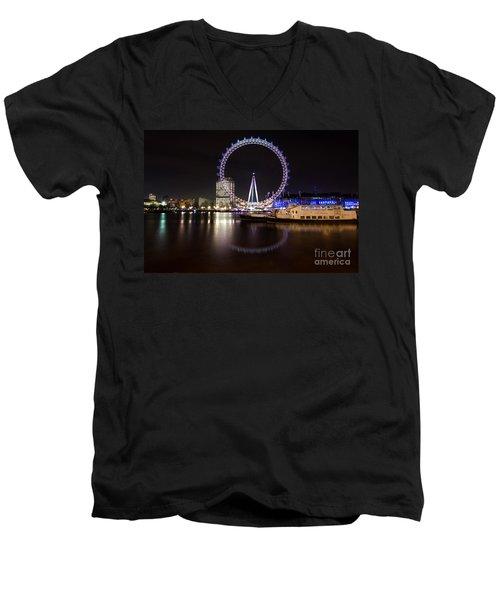 Men's V-Neck T-Shirt featuring the photograph London Eye Night by Matt Malloy