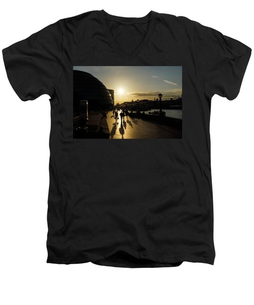 Men's V-Neck T-Shirt featuring the photograph London Silhouettes  by Georgia Mizuleva