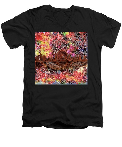 London Skyline Abstract 5 Men's V-Neck T-Shirt