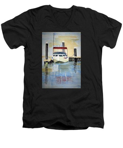 Lone Boat Men's V-Neck T-Shirt by Elvira Ingram