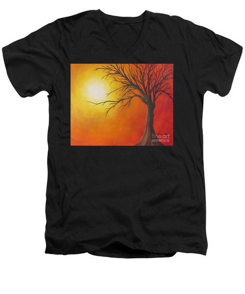 Lone Tree Men's V-Neck T-Shirt by Denise Hoag